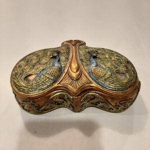Ceramic Double Peacock Trinket/Jewelry Box